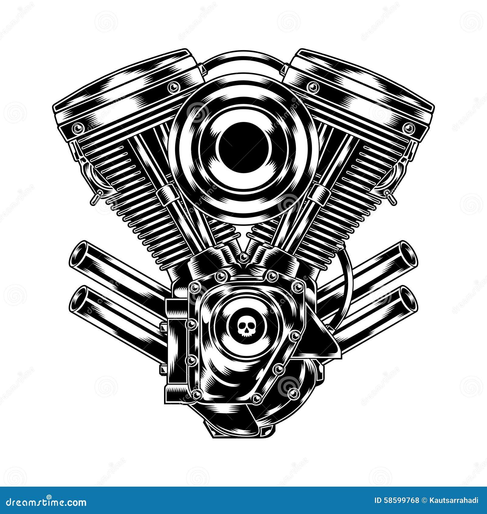 moteur de moto illustration de vecteur illustration du chappement 58599768. Black Bedroom Furniture Sets. Home Design Ideas