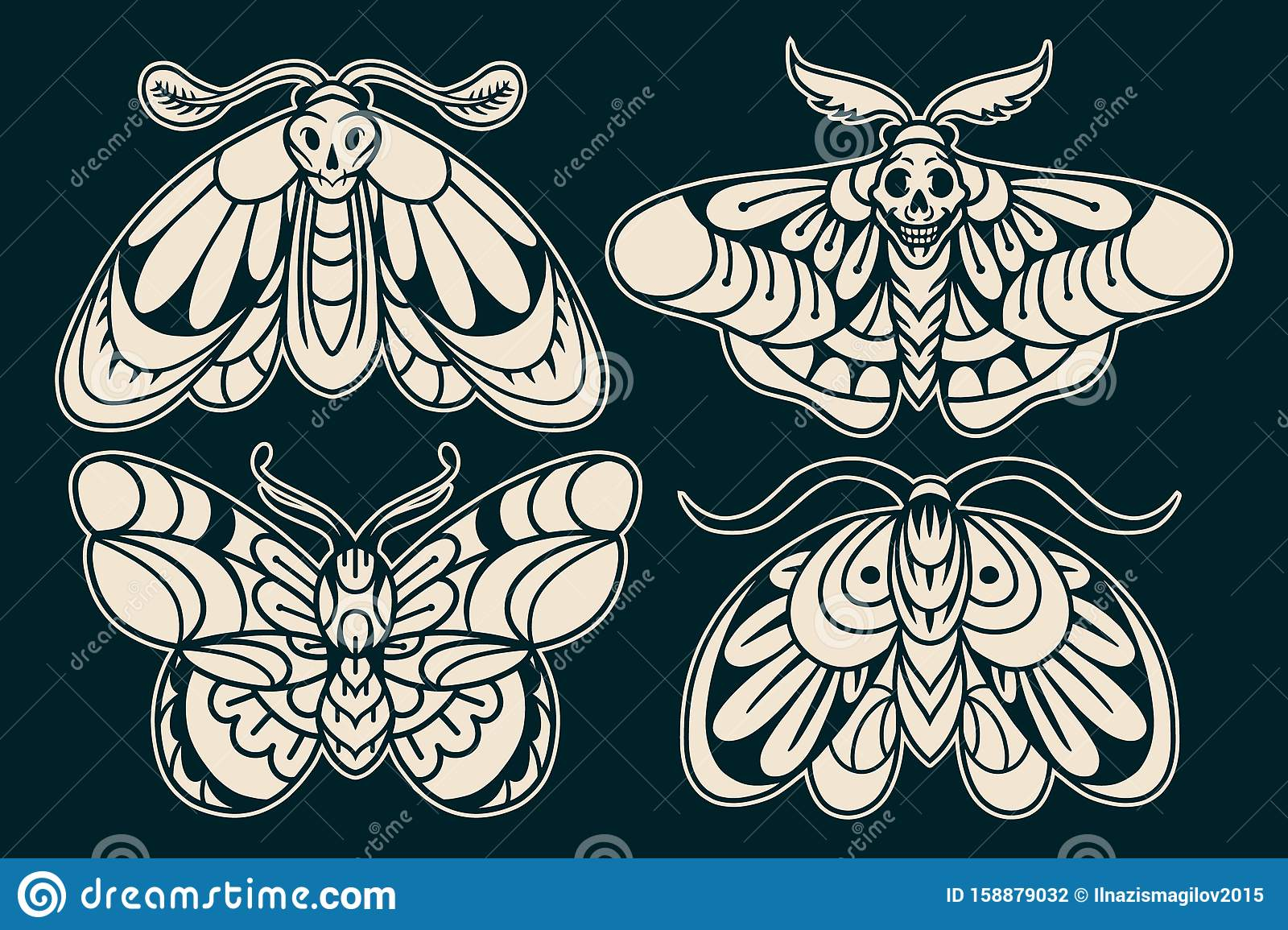 Moth Hand Drawing Old School Tattoo Stock Vector