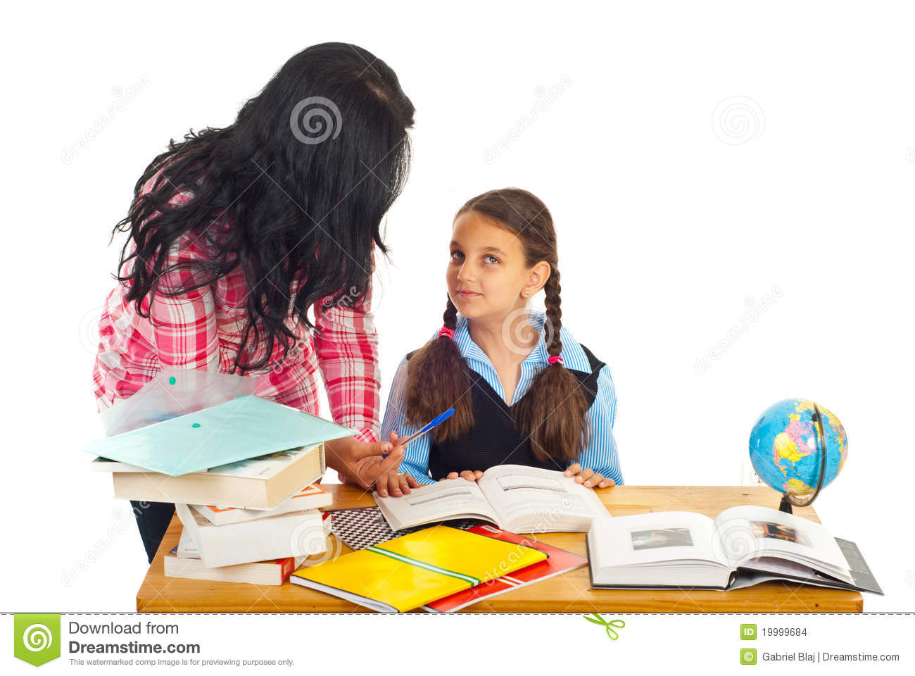 Mother asking girl about homework