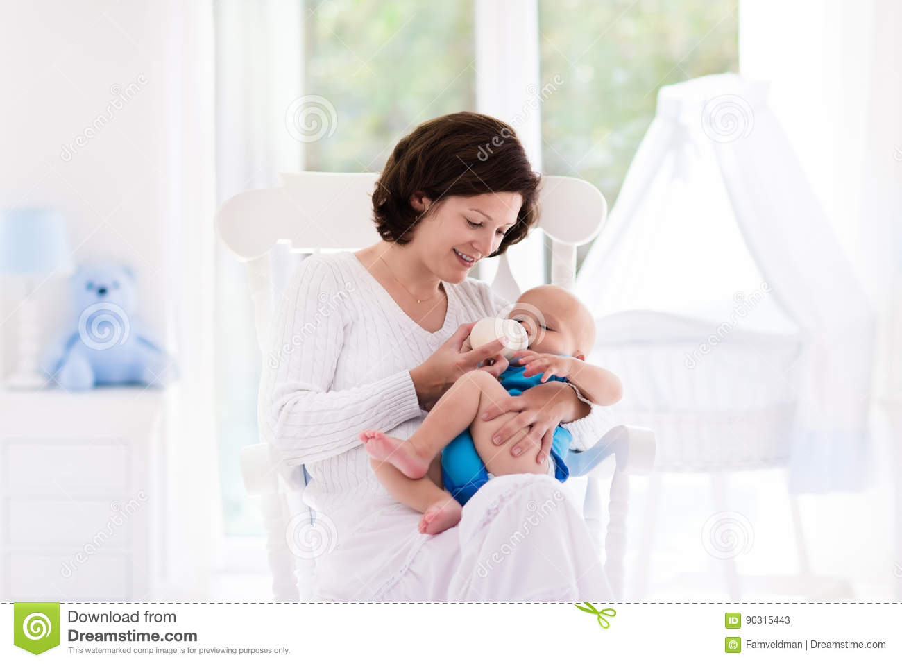 Mother And Baby In Bedroom Stock Image Image Of Crib