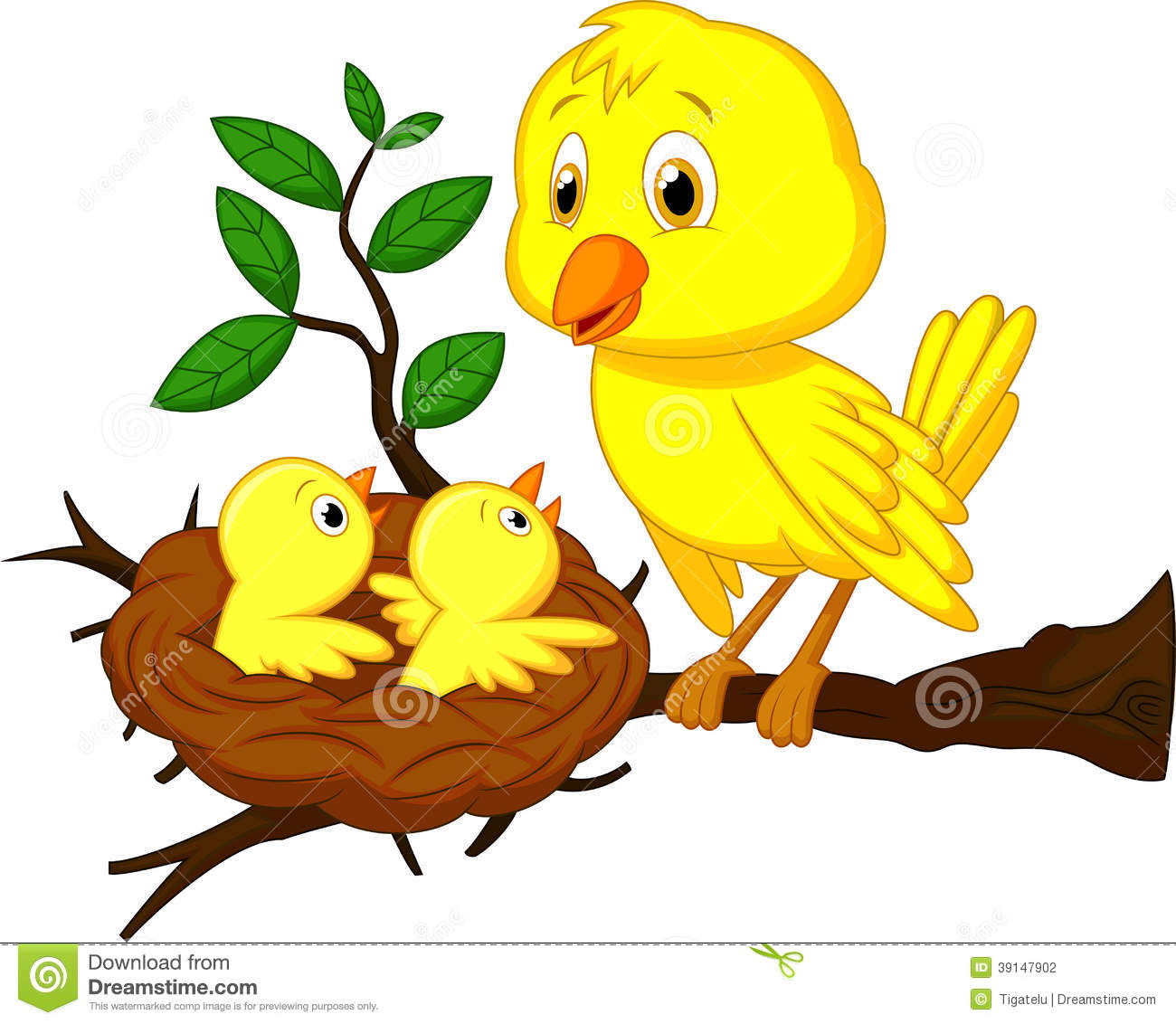 Mother And Baby Bird Cartoon Stock Vector - Image: 39147902