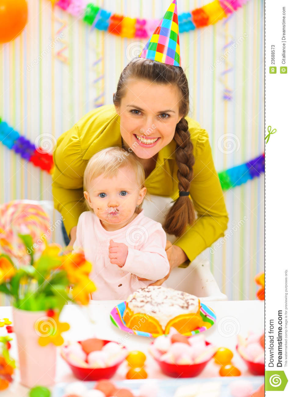 mother and baby on birthday celebration party stock image image of