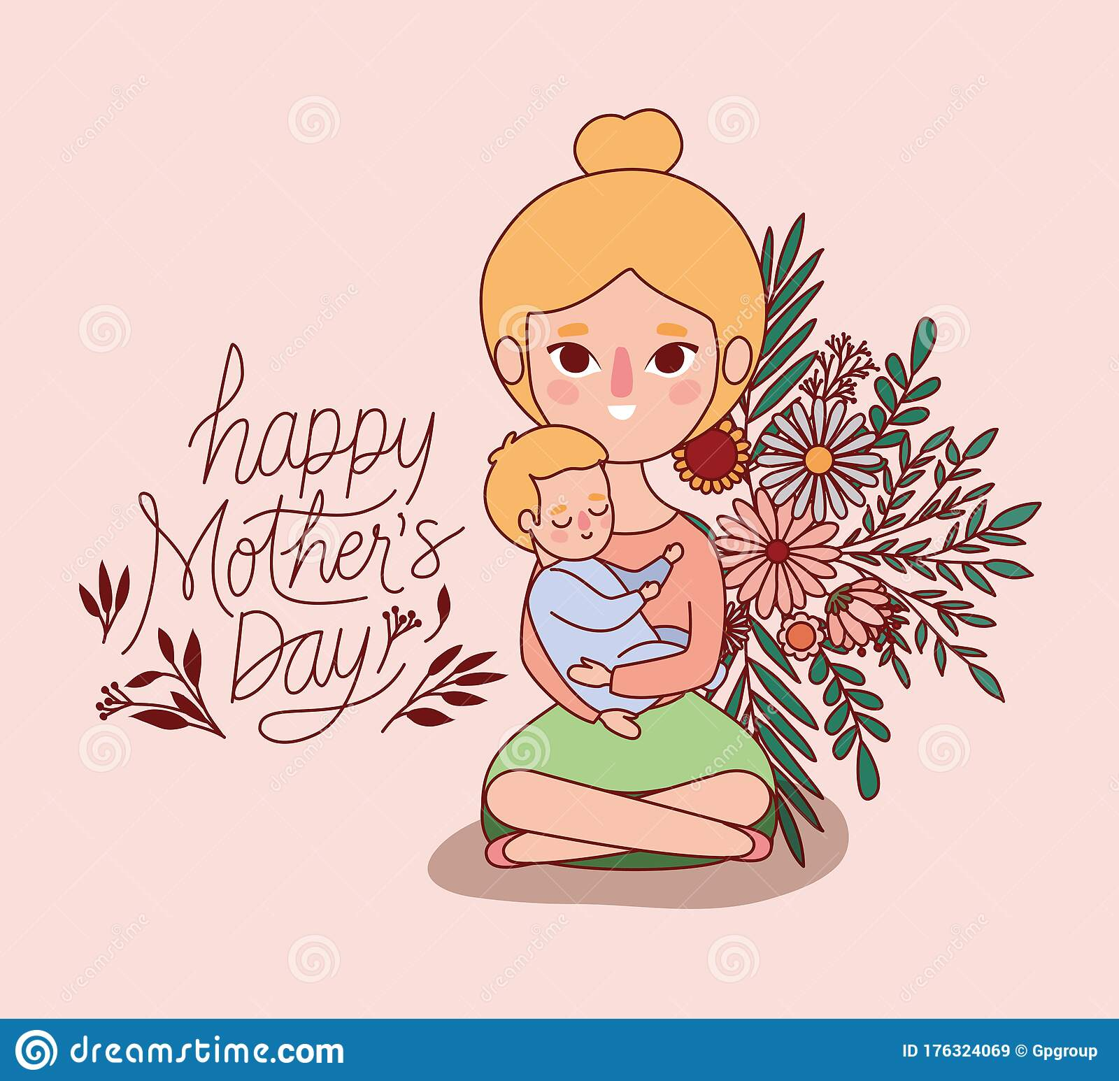Mother And Baby Cartoon With Flowers And Leaves Vector Design Stock Vector Illustration Of Party Greeting 176324069
