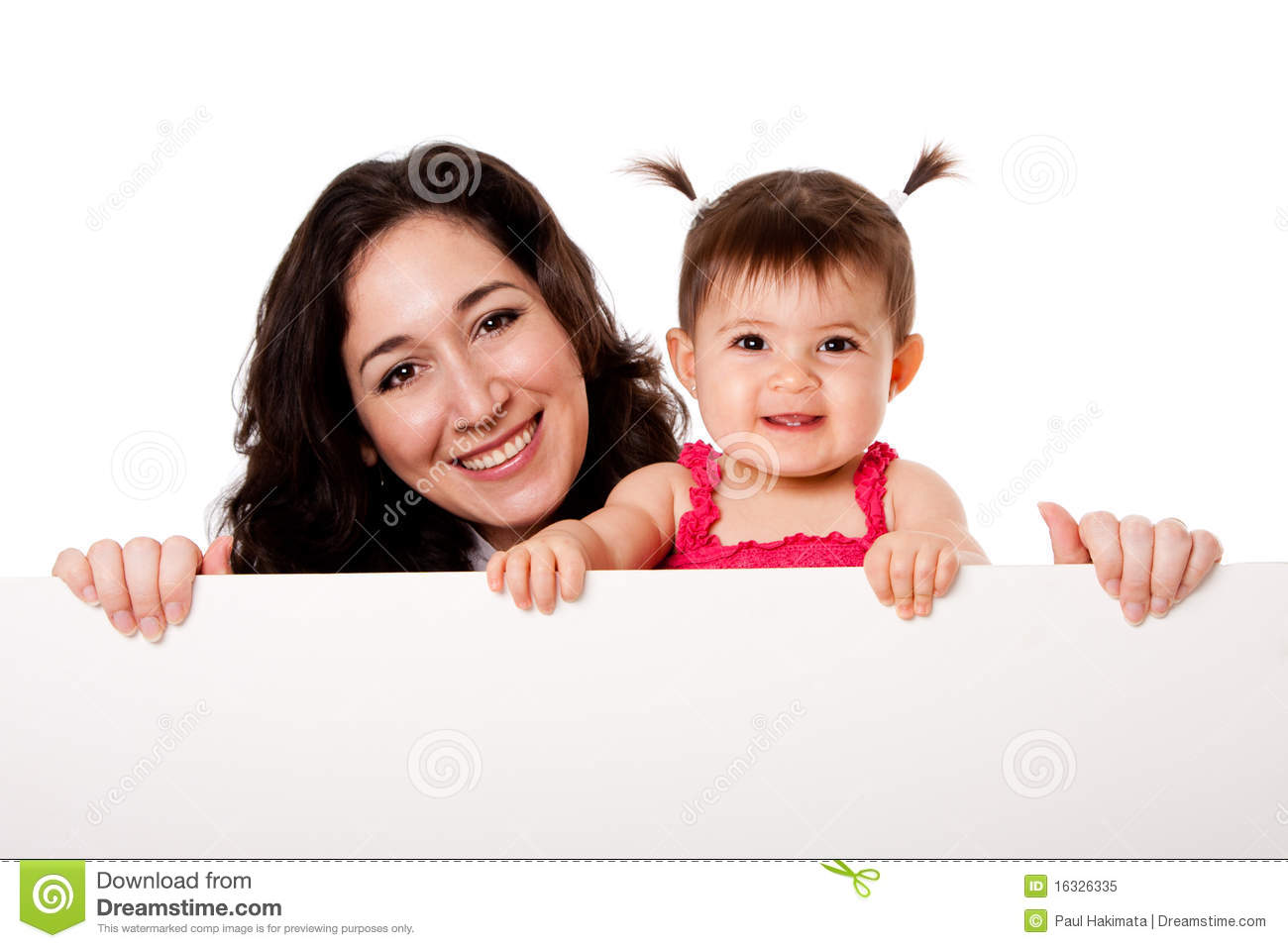 Mother and baby daughter holding white board