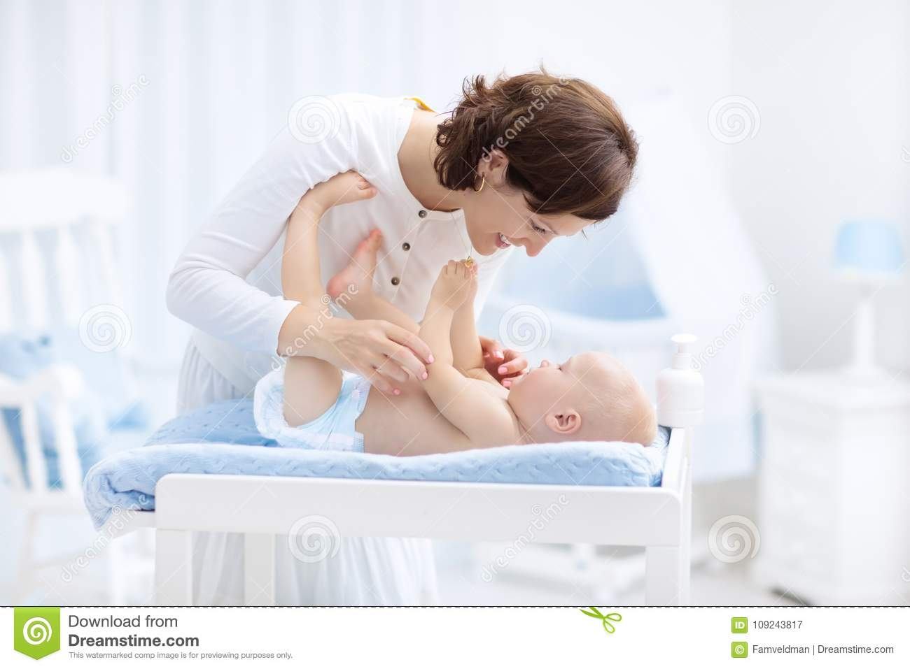 Mother And Baby In Diaper On Changing Table Stock Image Image Of Baby Little 109243817