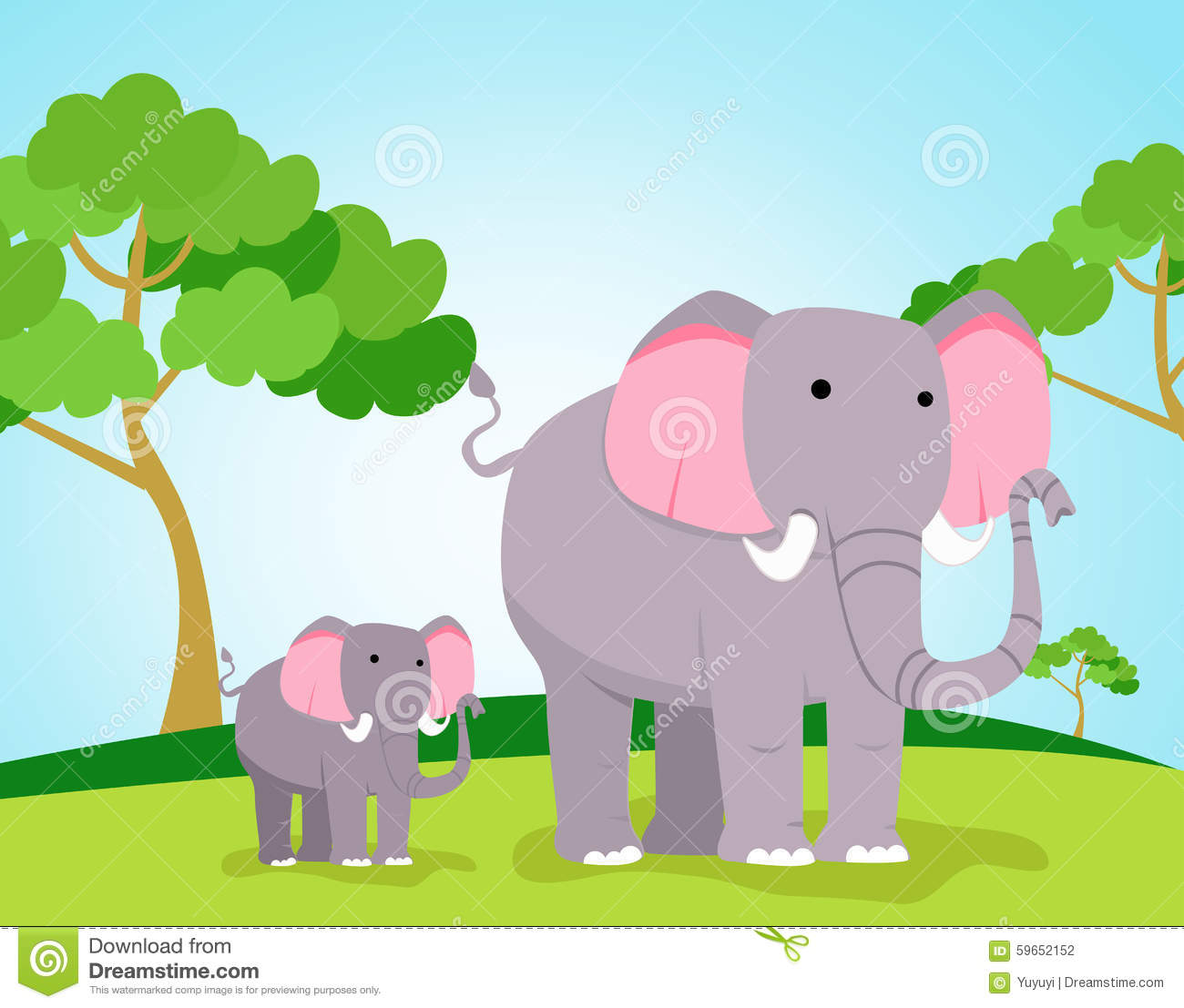 Mother And Baby Elephant Cartoon Stock Vector - Image ...
