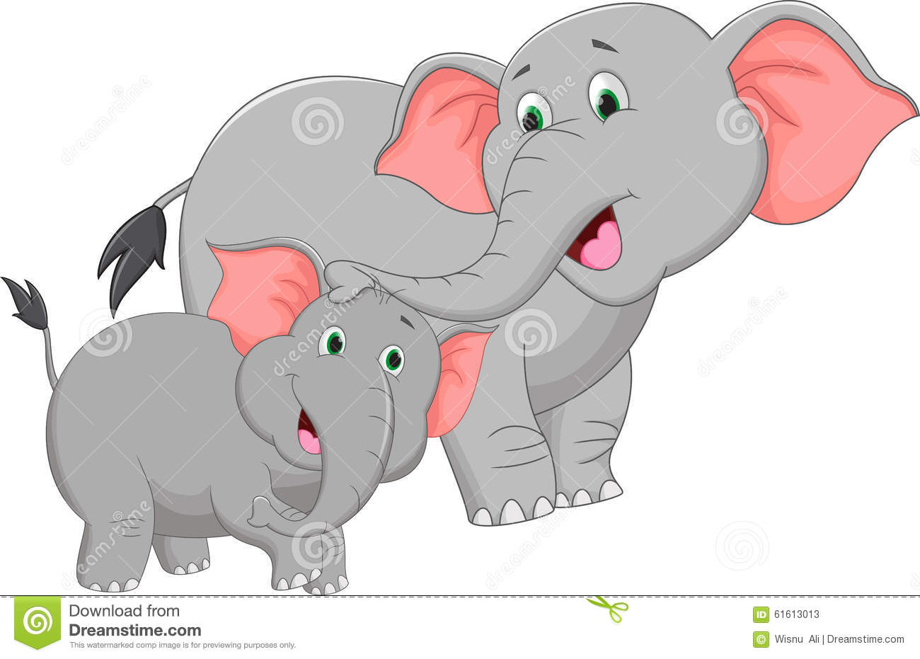 Mother And Baby Elephant Cartoon Stock Vector ...