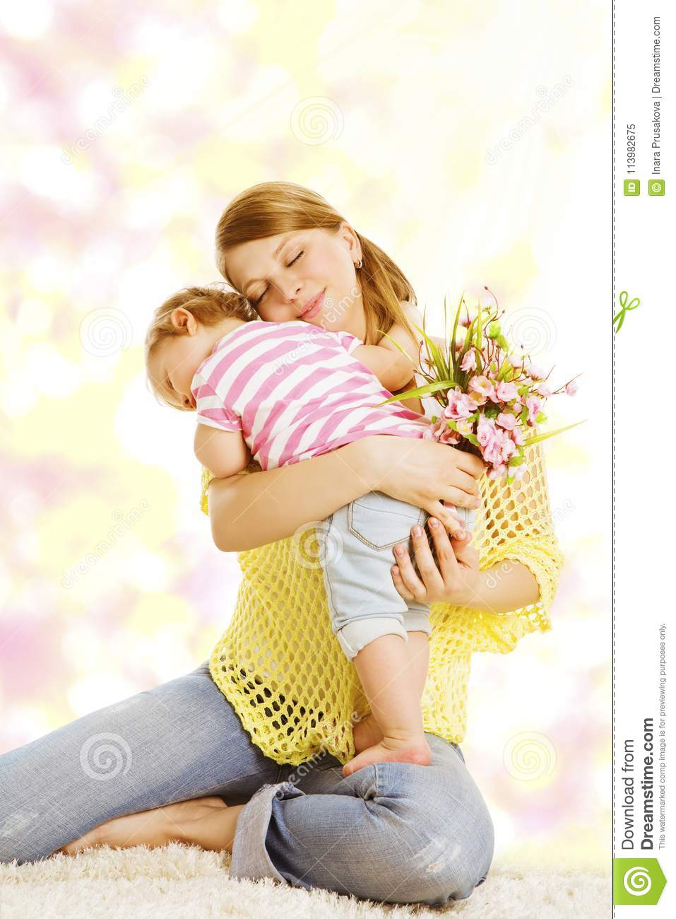 Mother And Baby Gives Flower Bouquet Gift Happy Mom Kid Girl