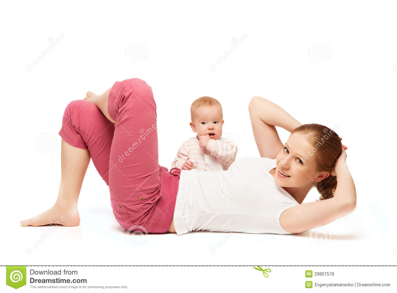 Mother And Baby Gymnastics, Yoga Exercises Royalty Free Stock Photos - Image: 29807578