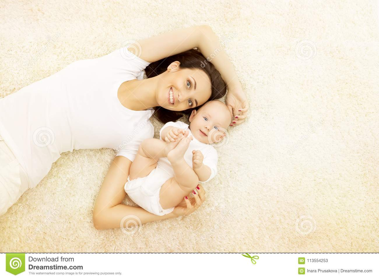 Mother and Baby, Happy Family Portrait, Mom with Kid on Carpet