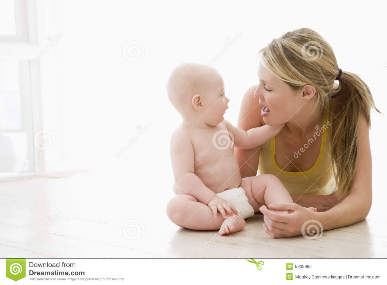 Mother and baby indoors