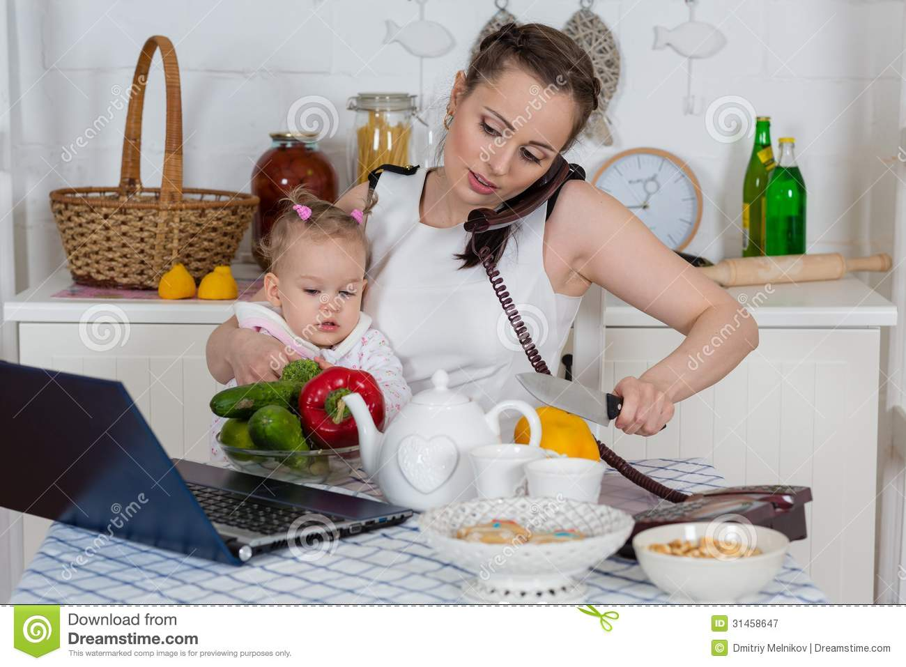 Mother With Baby In Kitchen Royalty Free Stock Photography Image 31458647