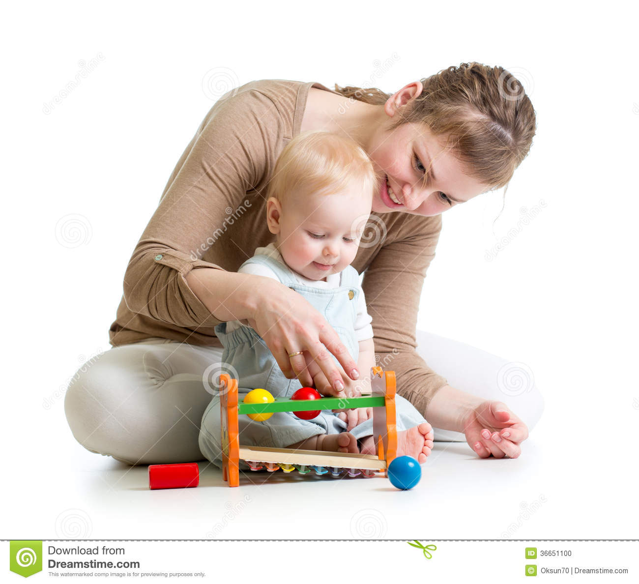 Mother And Baby Play With Wooden Toy Stock Photo - Image of