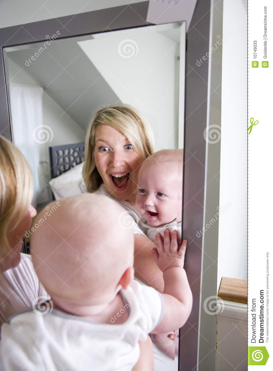 Mother And Baby Playing In Mirror Stock Image Image Of