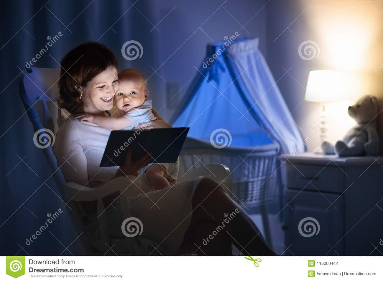 Mother Reading A Book To Little Baby Stock Photo Image Of
