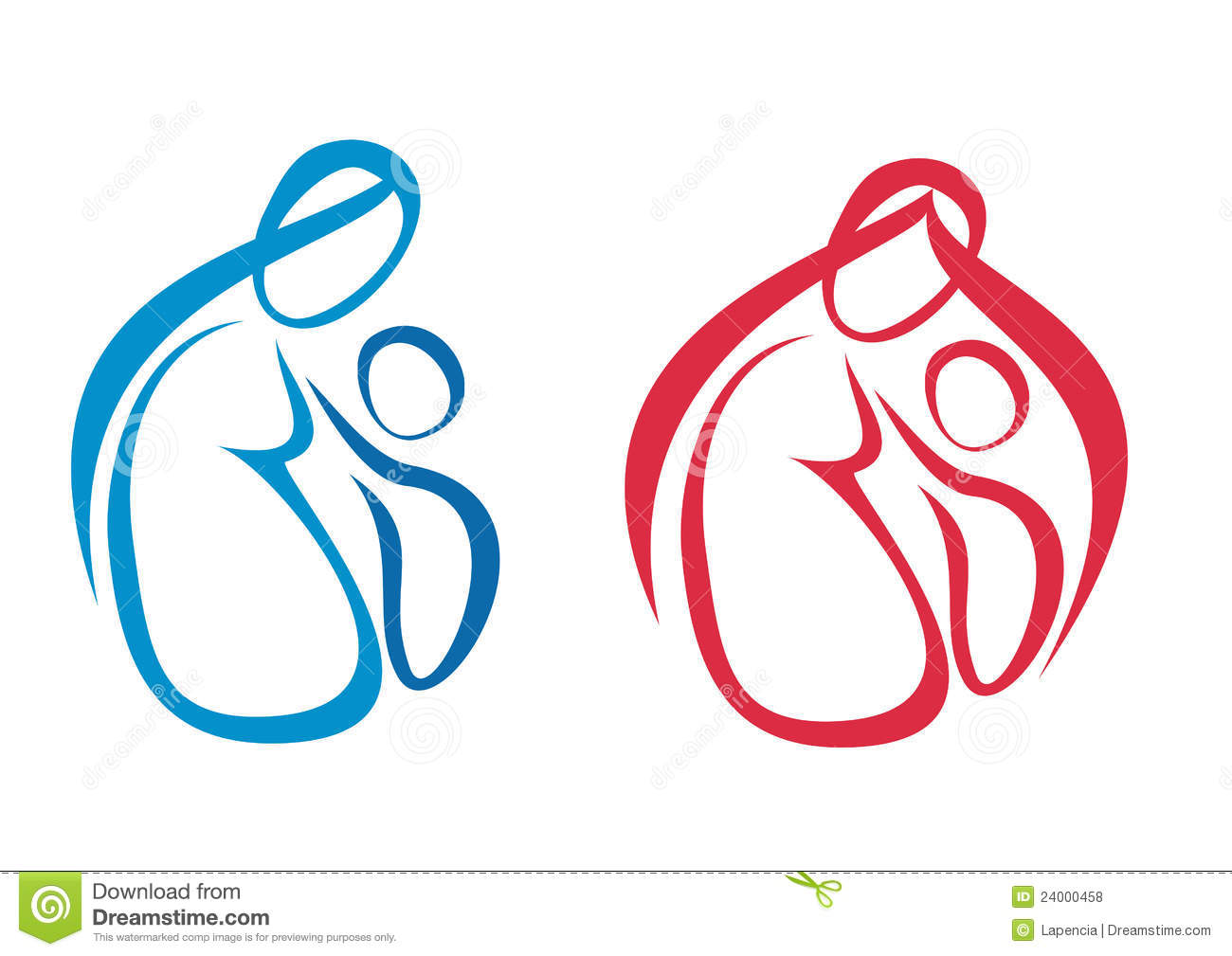 Mother And Baby Set Of Symbols Stock Vector Illustration Of