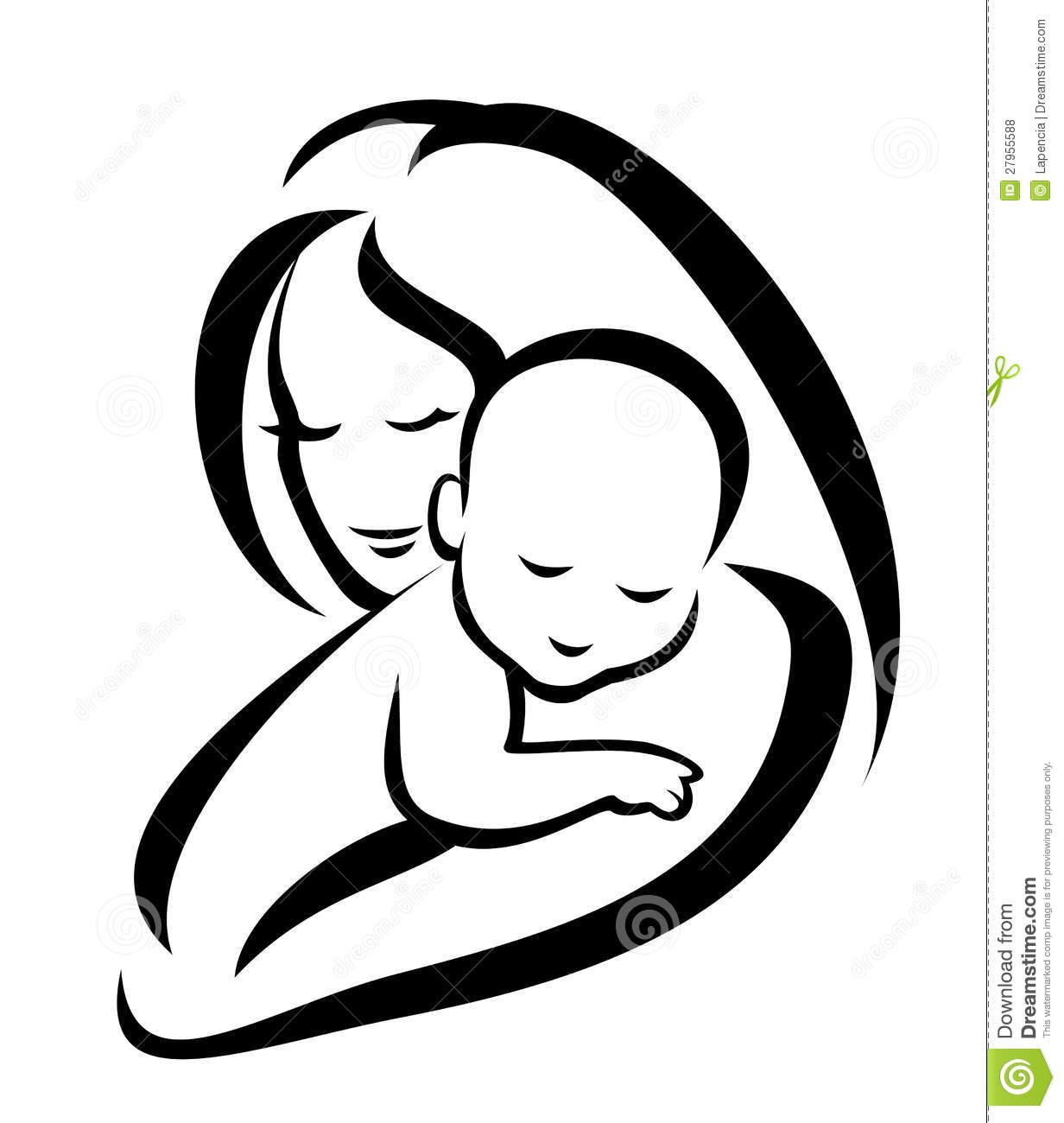 Love The Mother Child Silhouette: Mother And Baby Silhouette Royalty Free Stock Photos