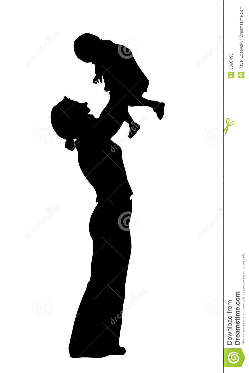 mother with baby silhouette stock vector image 3566498