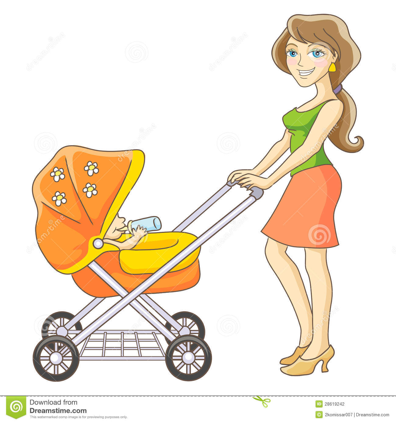 Mother And Baby Stroller Stock Photography - Image: 28619242 Baby Stroller Cartoon