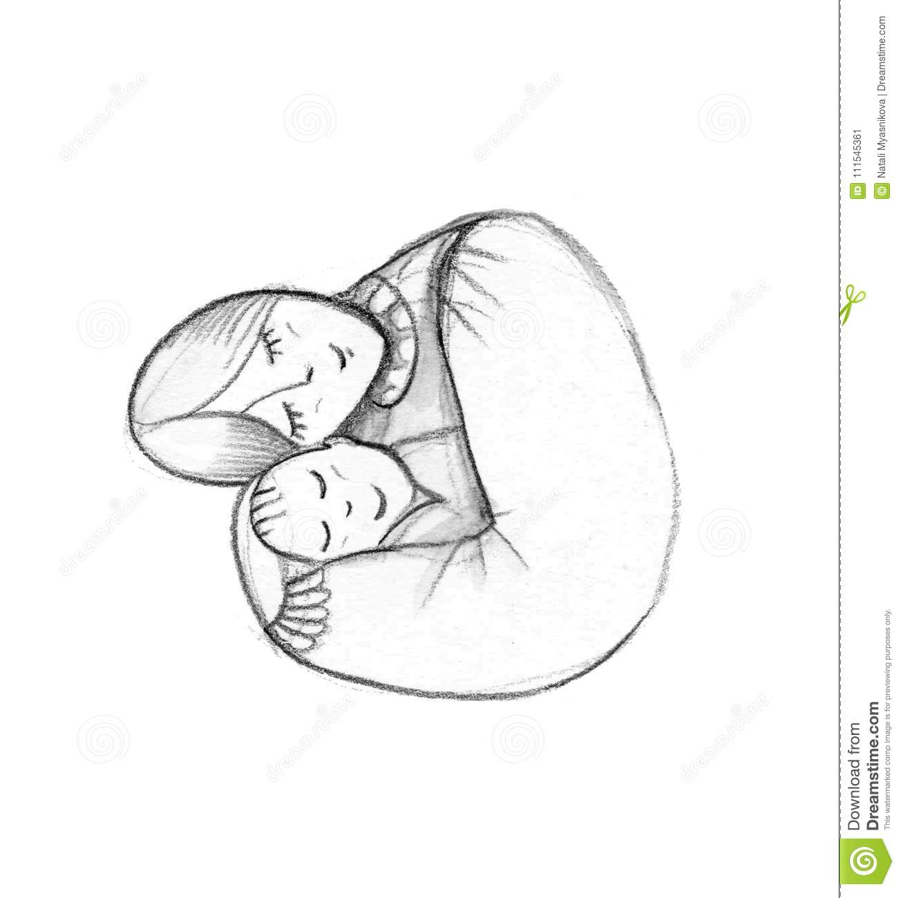 Mother And Baby Stylized Symbol Mom Hugs Her Child Hand Drawn