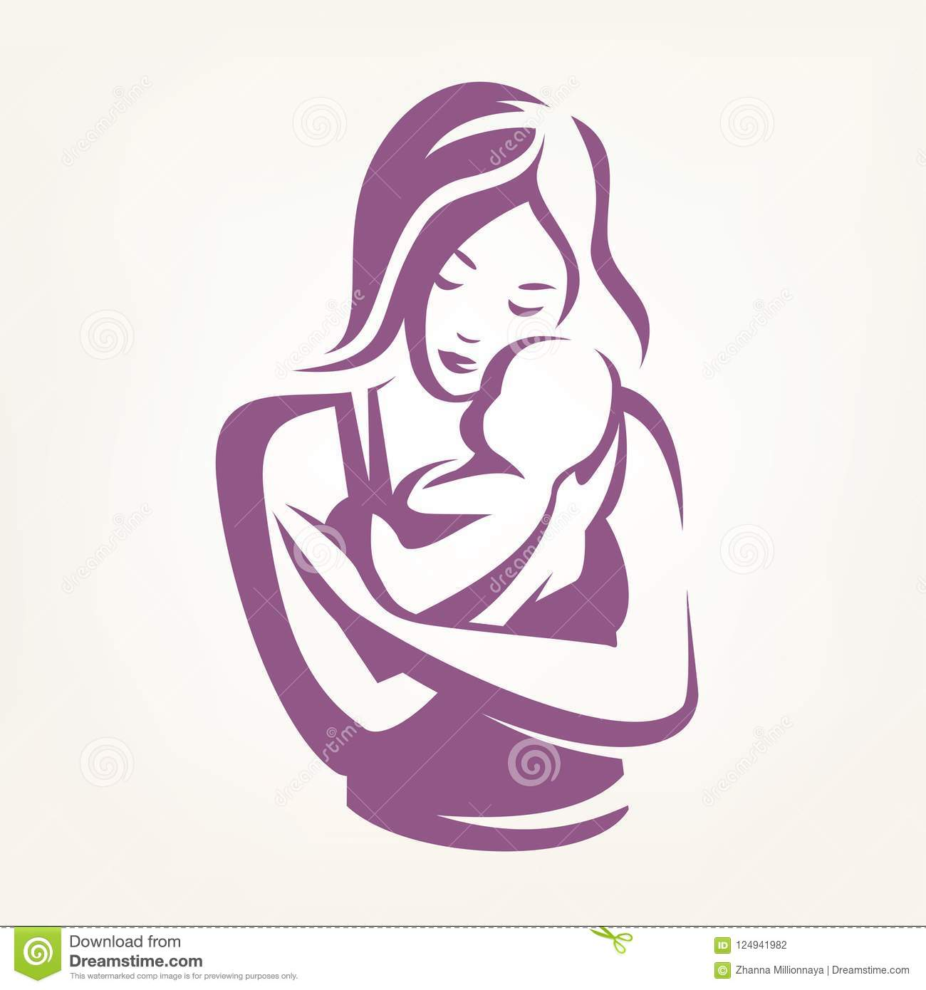 Mother And Baby Stylized Vector Symbol Stock Vector Illustration