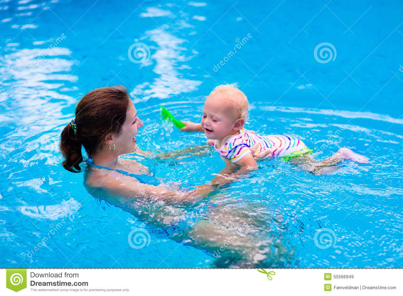 Mother And Baby In A Swimming Pool Stock Photo Image 55566949