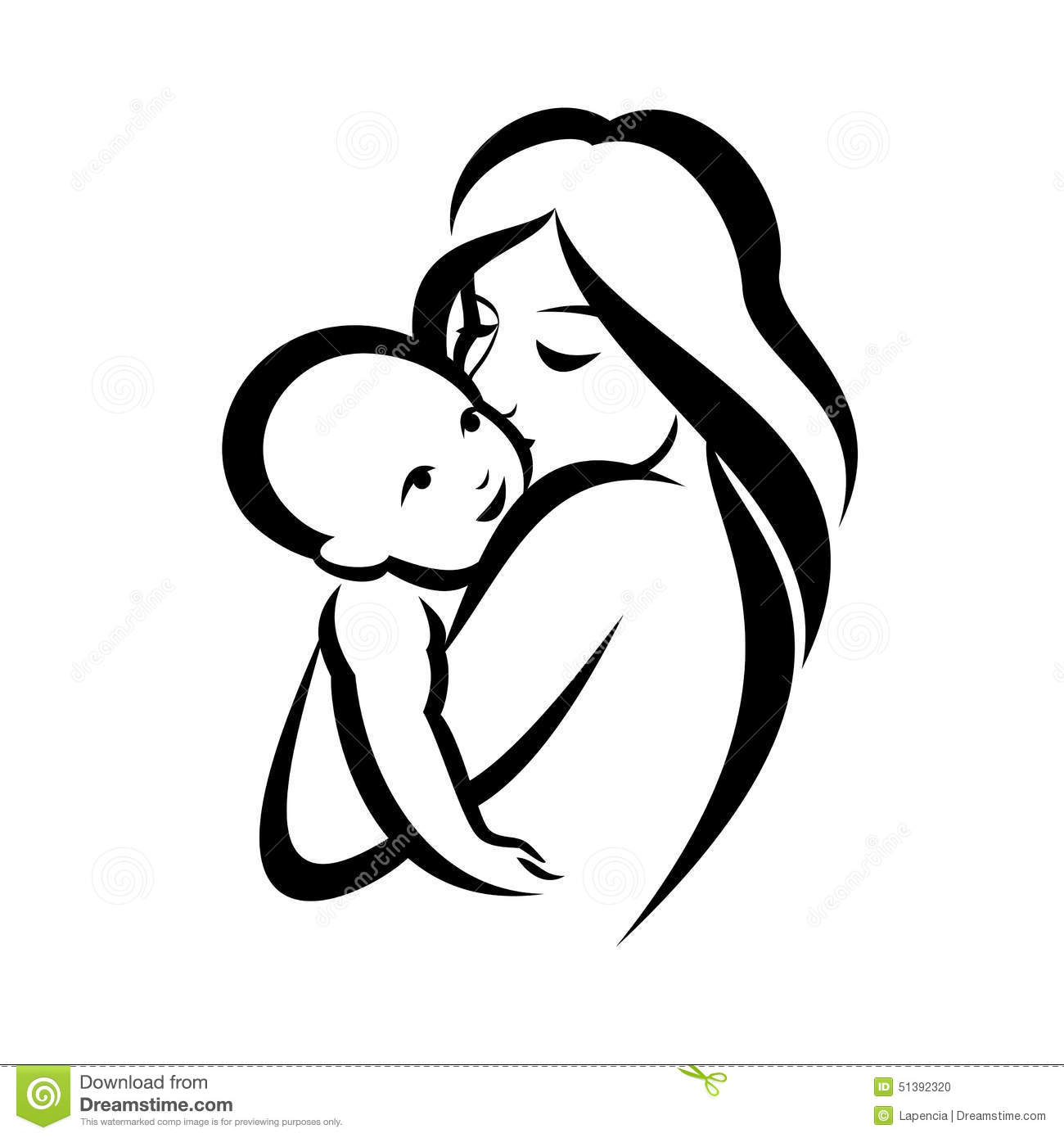 Mother And Baby Symbol Stock Vector Illustration Of Daughter 51392320