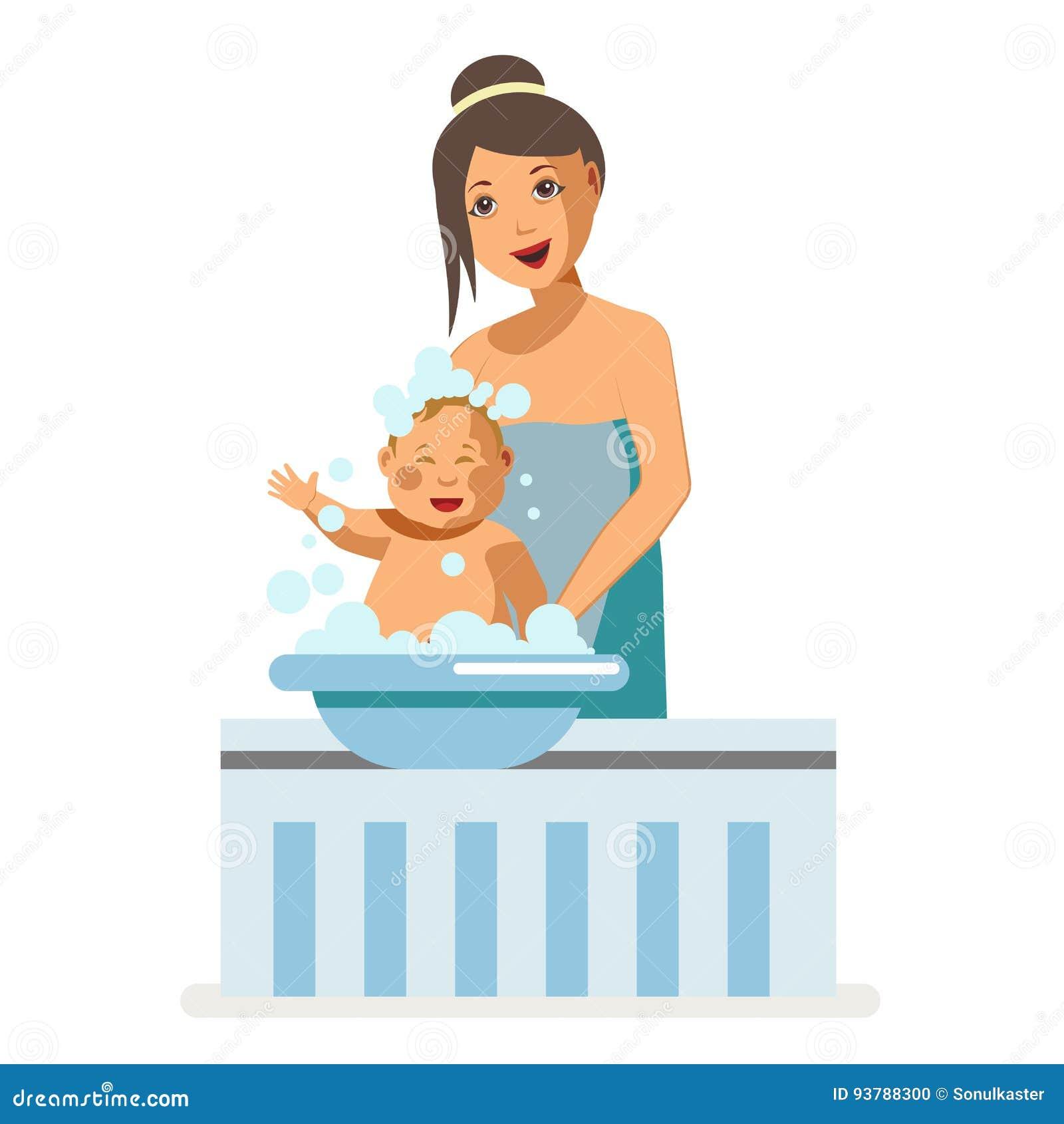 Mother Bathing Newborn Baby Child Maternity Nursing Vector Flat