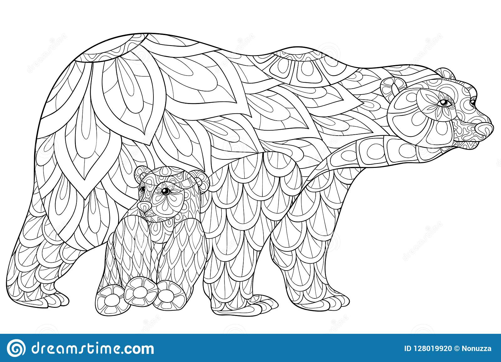 Adult Coloring Book,page A Cute Bear Family Image For