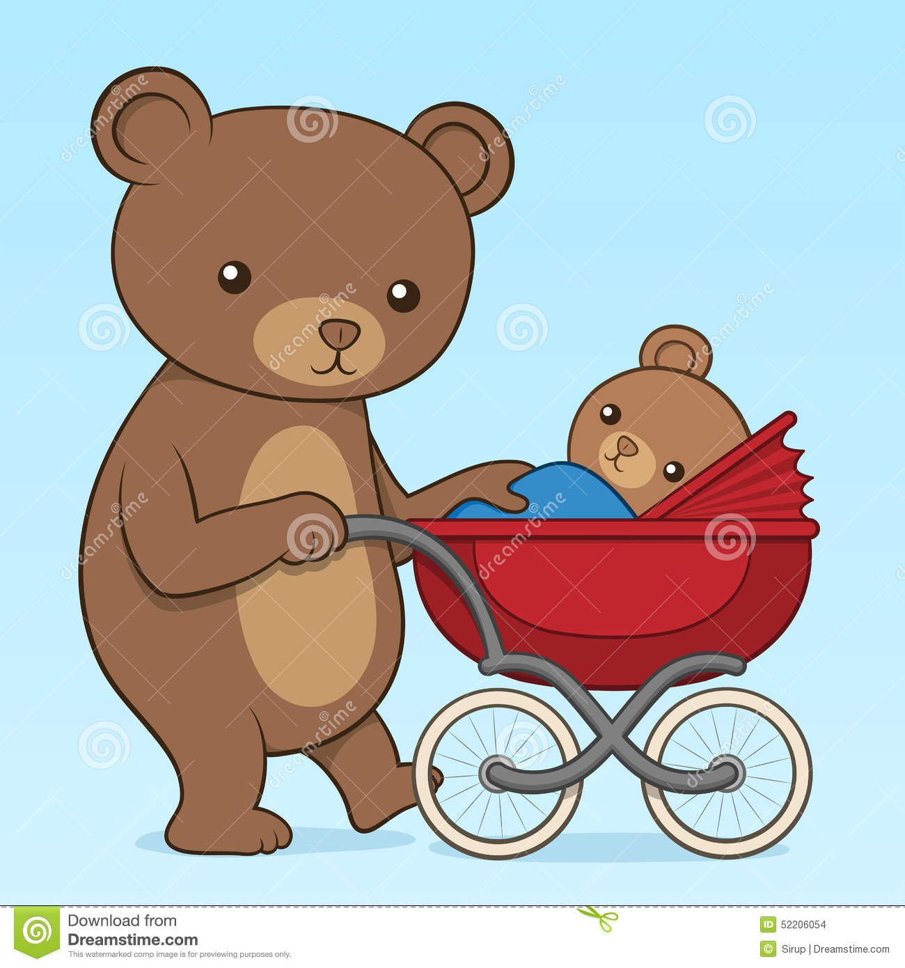Mother Bear Pushing Her Cub In A Buggy Stock Vector ... - photo#29