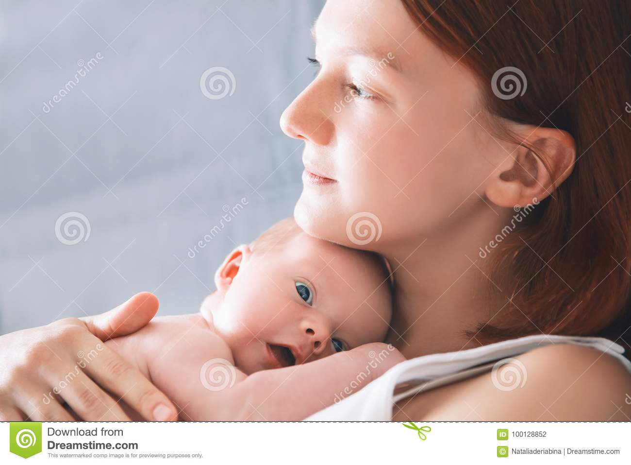 a2dbf1059281 Mother Breastfeeding Newborn Baby At Home. Stock Photo - Image of ...
