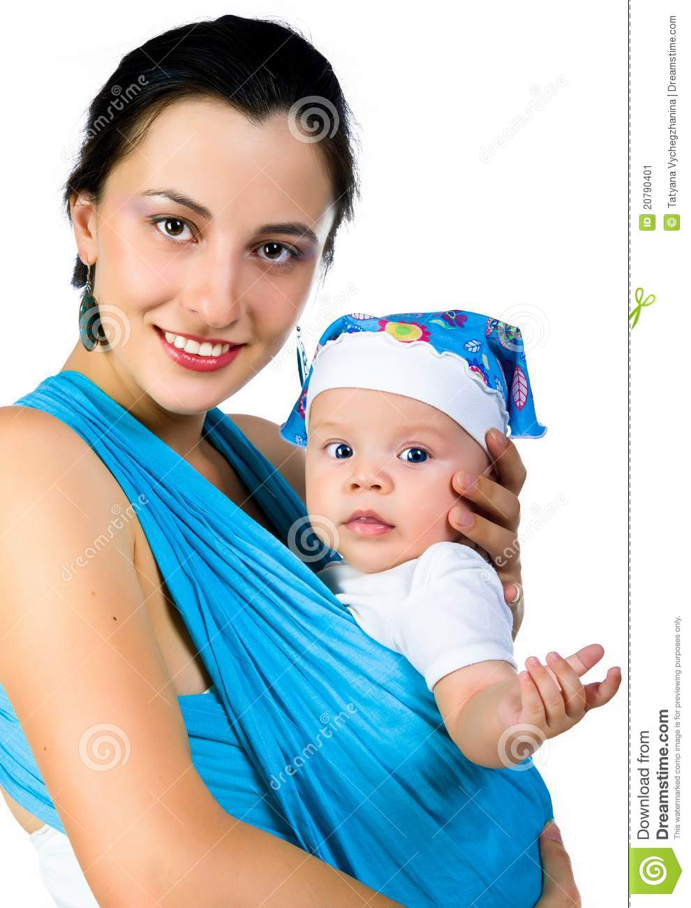 Modern Young Mother Carrying Her Baby In A Sling Stock