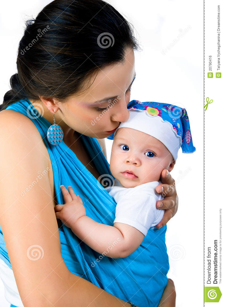 Young Mother With Baby In Sling Stock Image - Image of