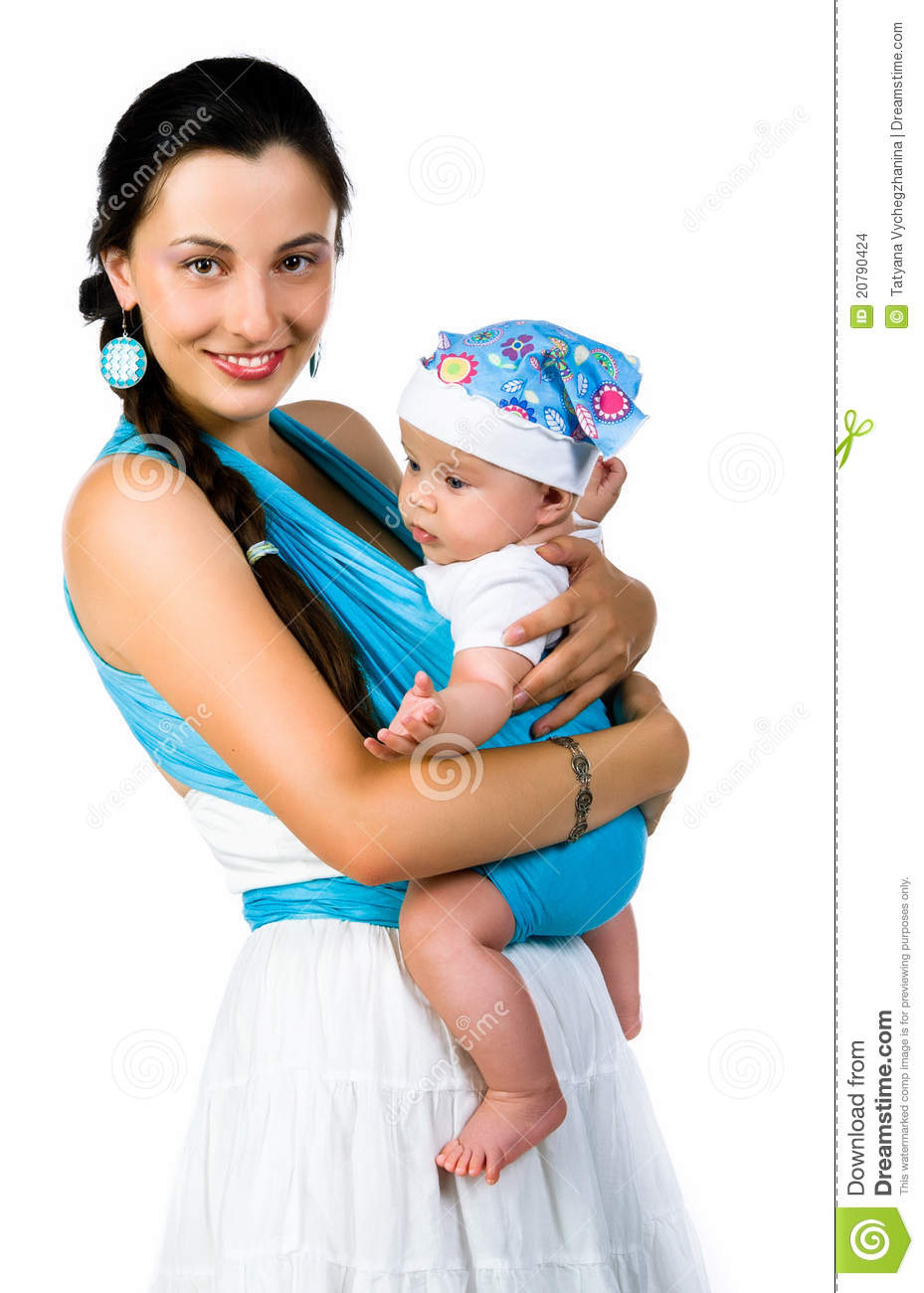 Young Mother, Holding Tenderly Her Newborn Baby Boy Stock