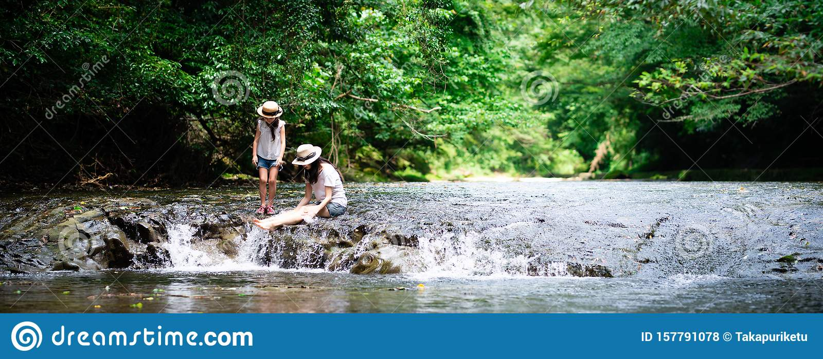 Mother And Child Adventure In Mountain Stream Stock Photo Image Of Copy Childcare 157791078