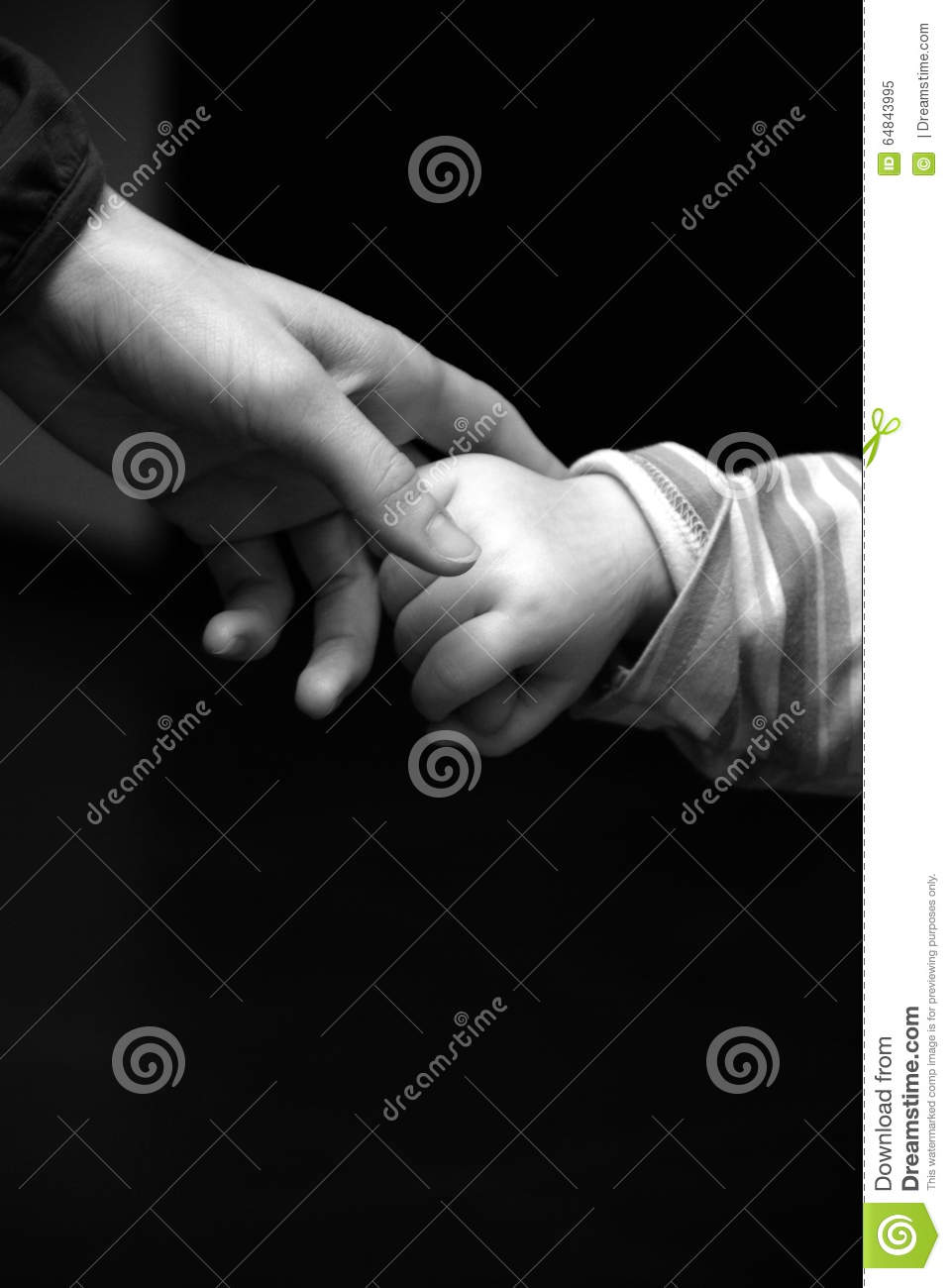 Mother and child holding hands in black and white