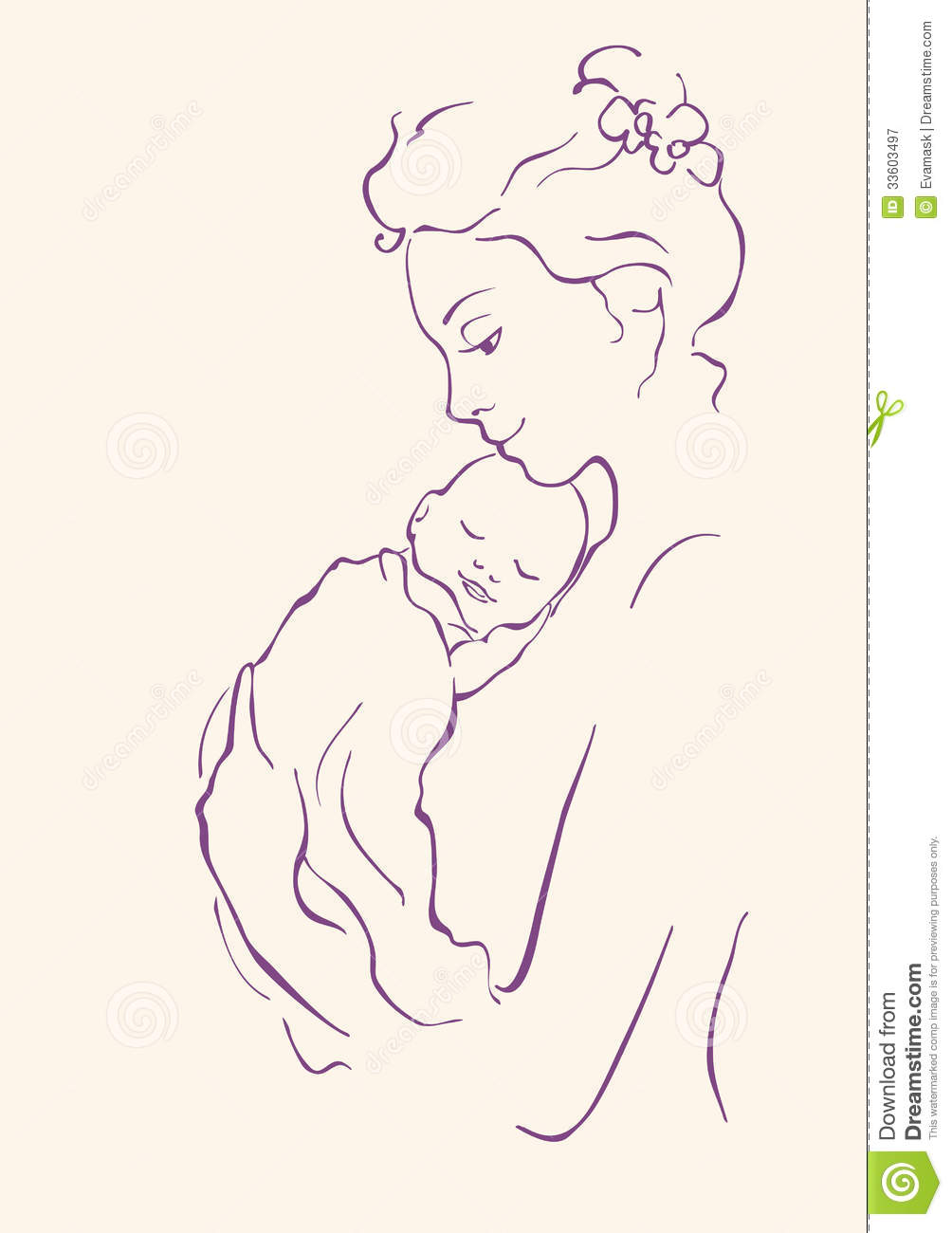 Line Art Baby : Mother and child stock vector illustration of human
