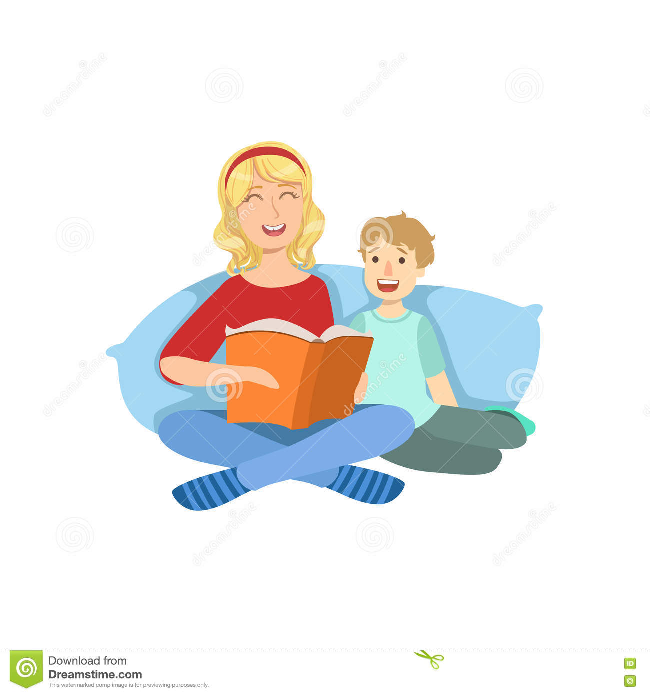 Mother And Child Reading A Book Together Illustration ...