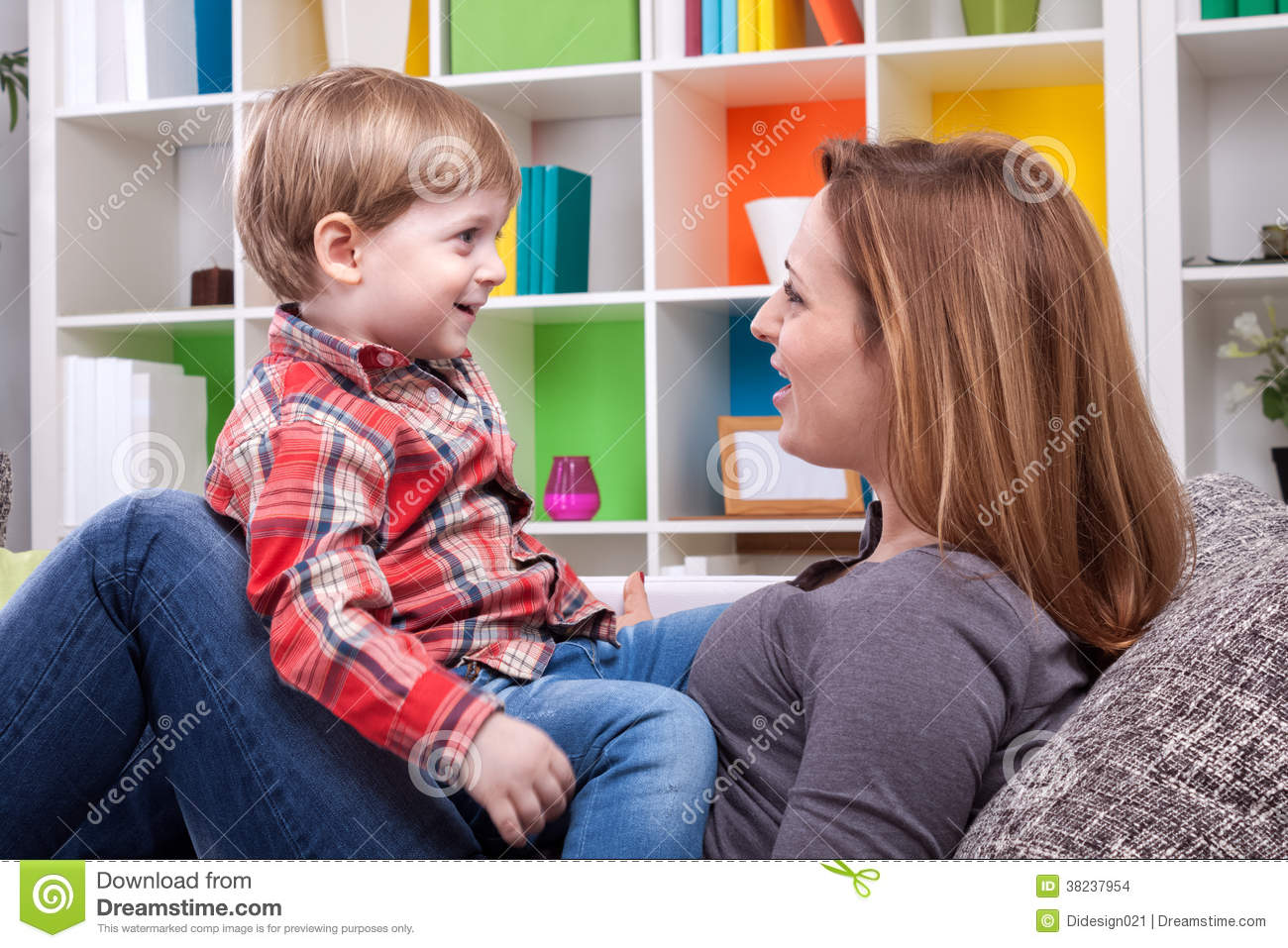 Mother And Child Singing A Song Stock Photo