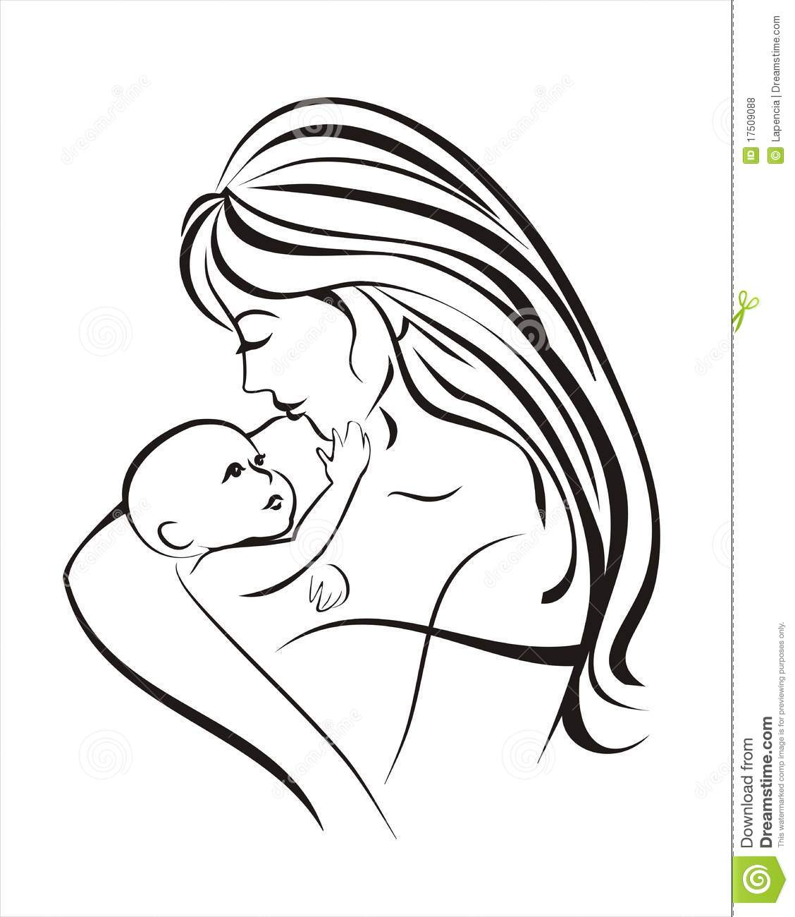 Mother and child sketch in black lines