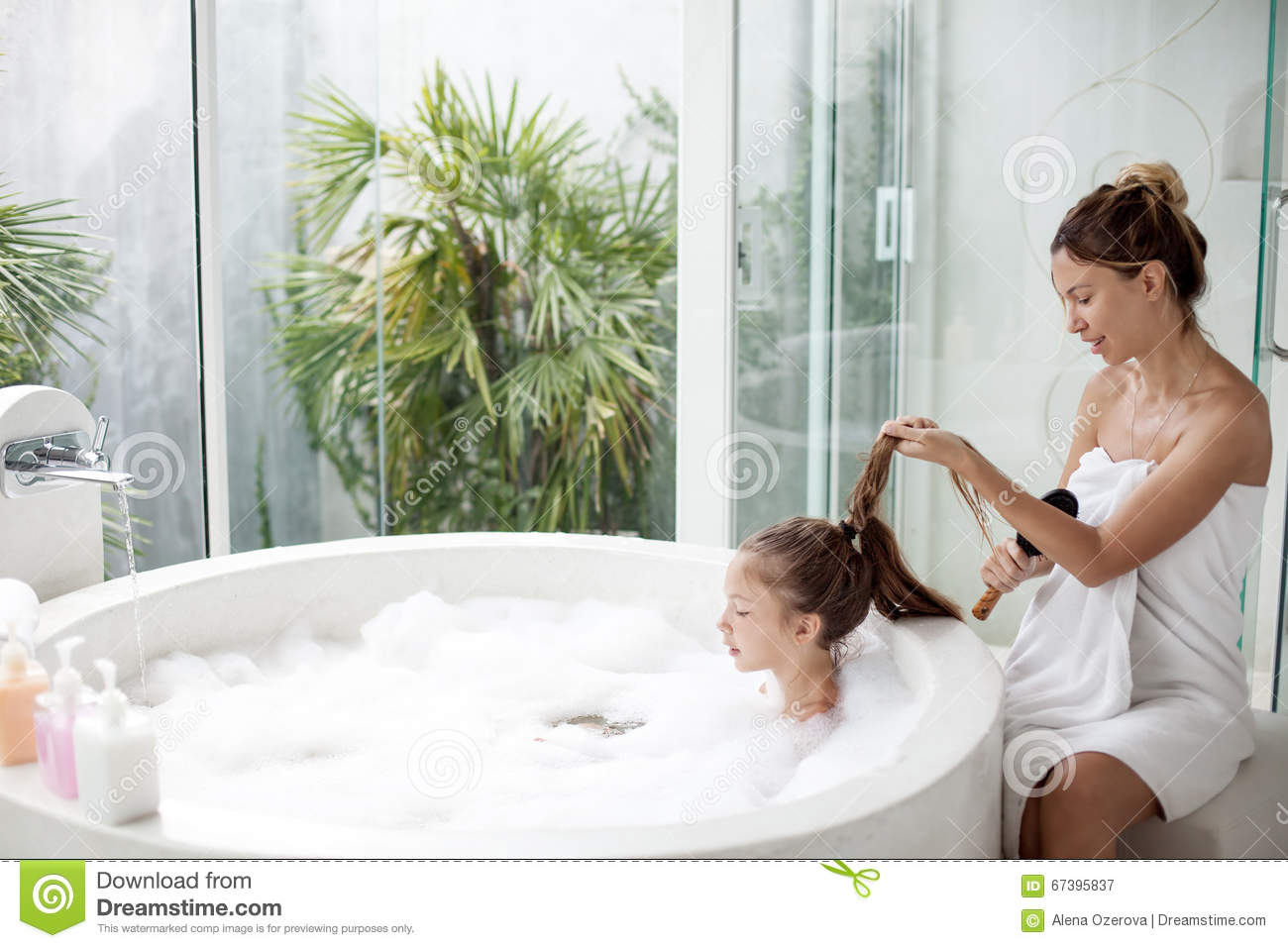 Good, bath with son mom