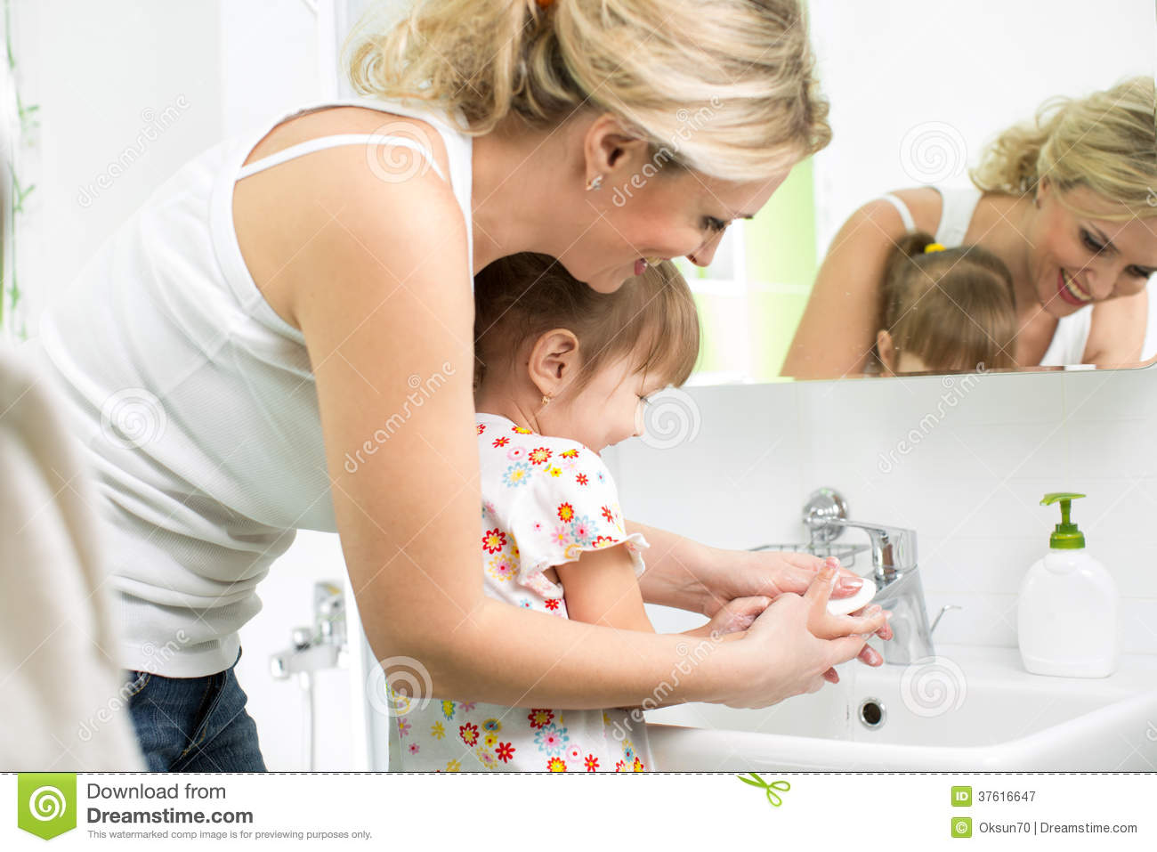 Mother And Child Washing Hands Stock Image Image 37616647