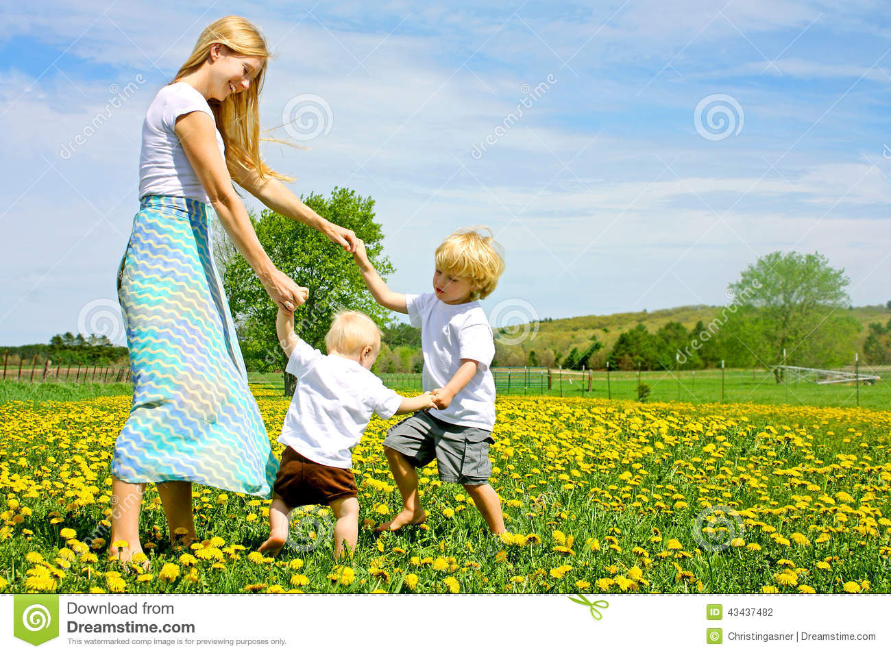 ... And Dancing Outside In Flower Meadow Stock Photo - Image: 43437482