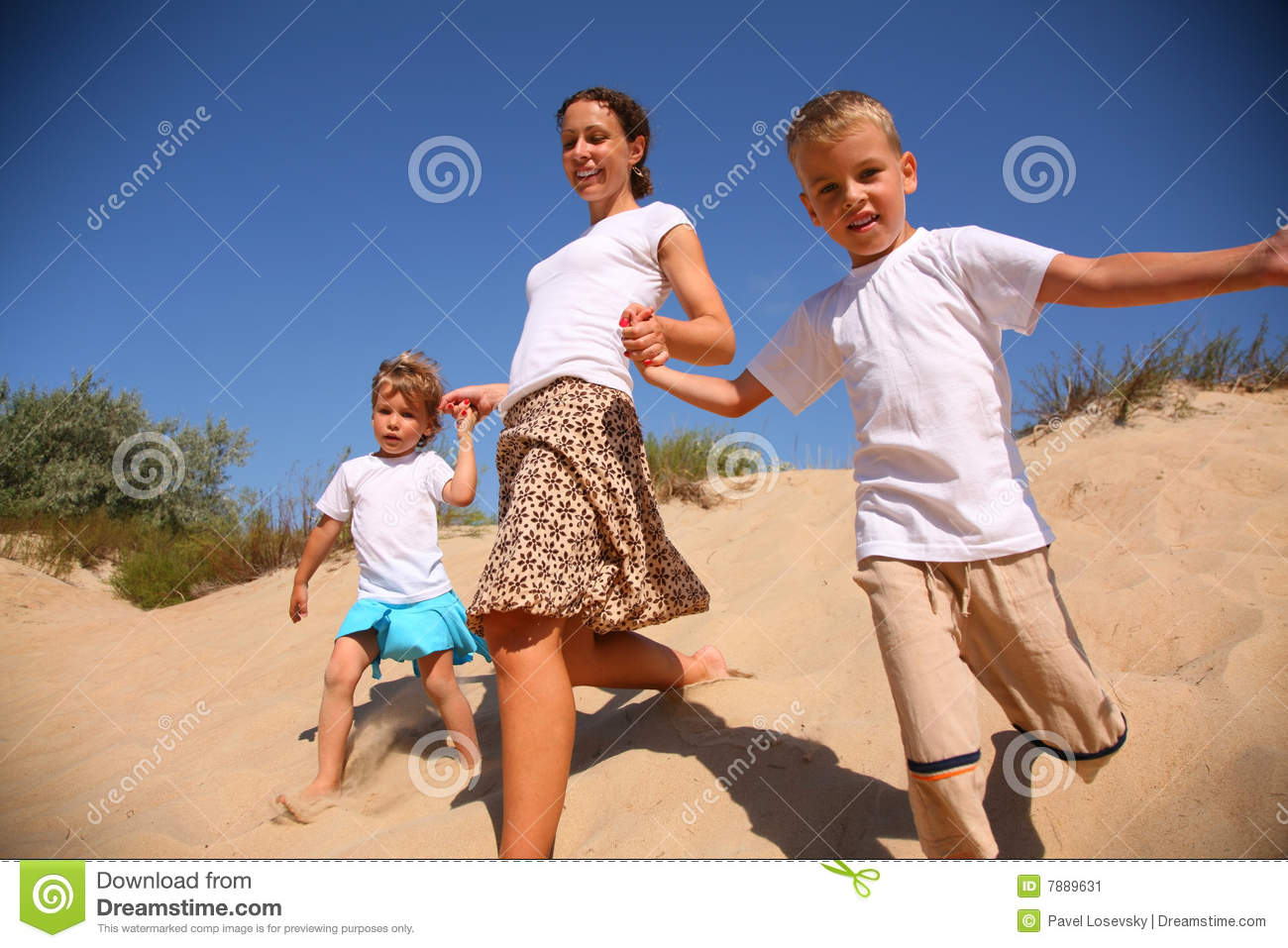 Download Mother With Children Runs On Sand Stock Image - Image of mother, resort: 7889631