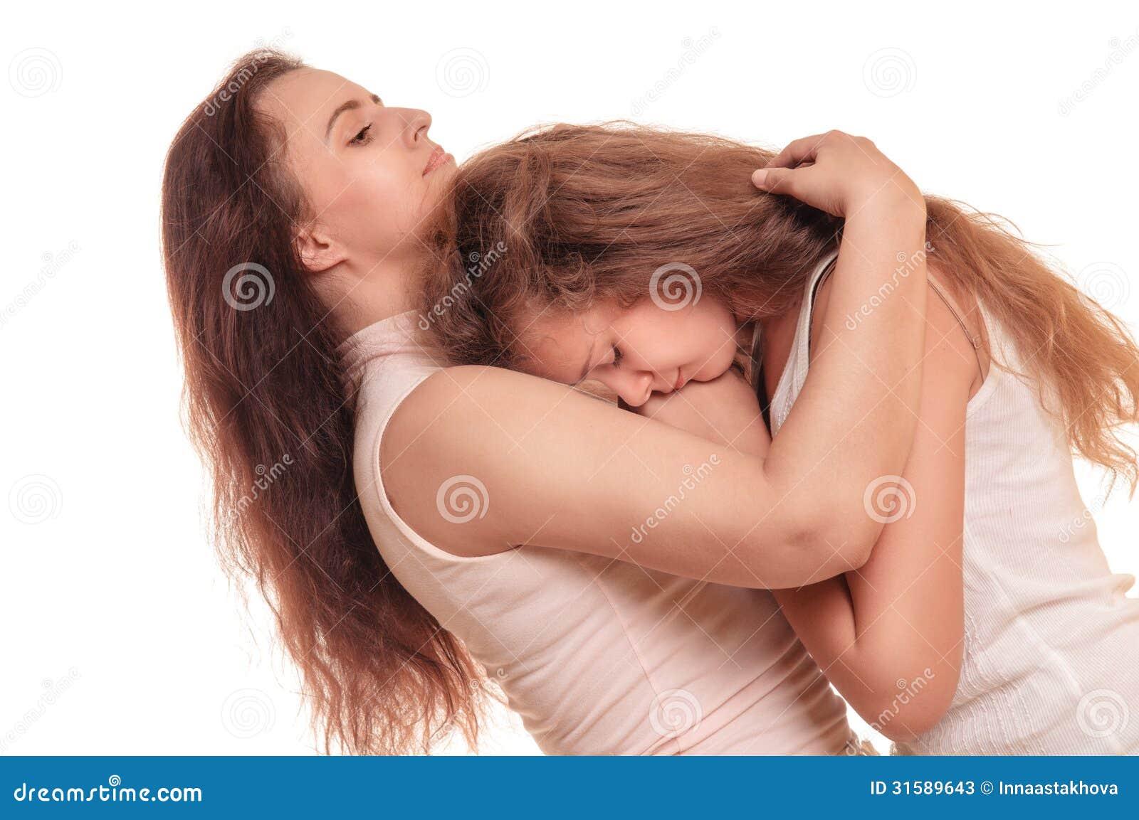 Lesbian mom comforting sad daughter