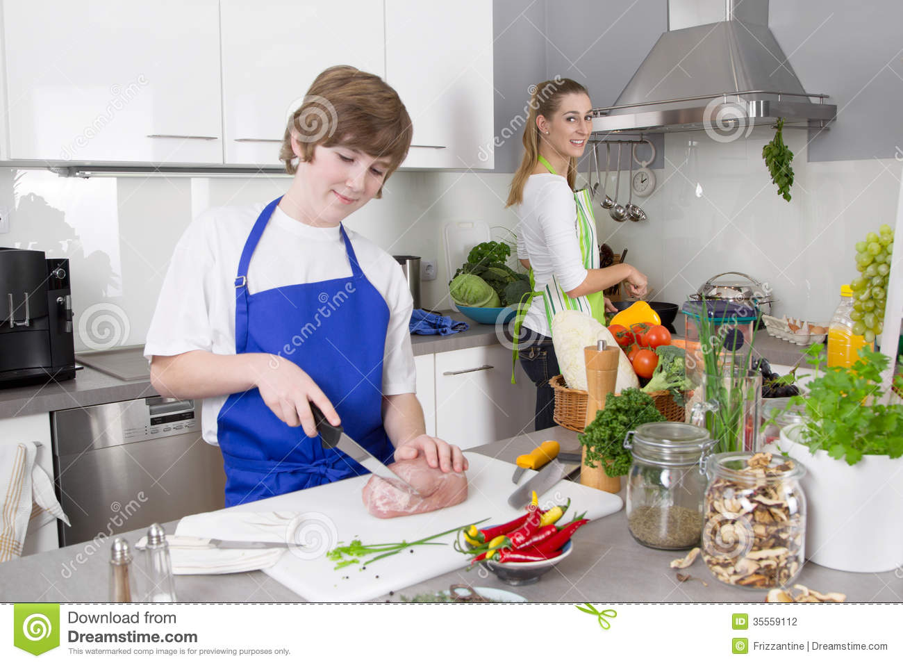 Mother Cooking With Her Son In The Kitchen Family Life Stock Photography Image 35559112