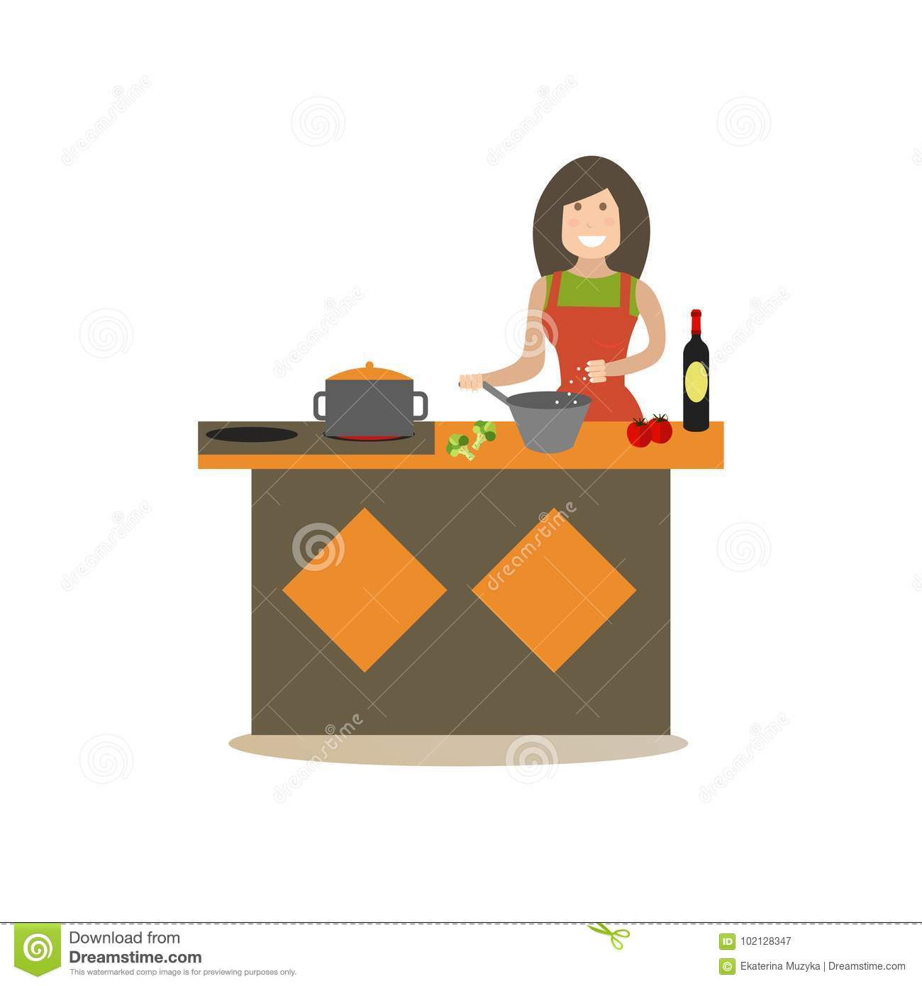 4f84990d63 Vector illustration of woman cooking in kitchen. Mother preparing food flat  style design element