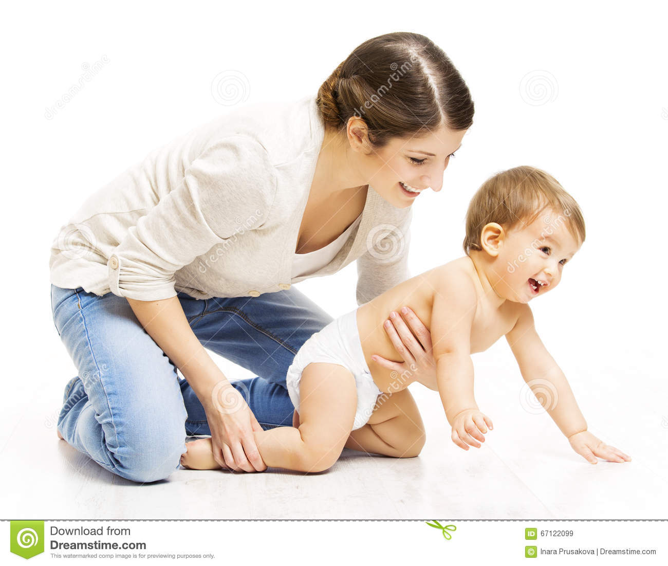 Mother And Crawling Toddler Kid, Woman Parent Holding ...