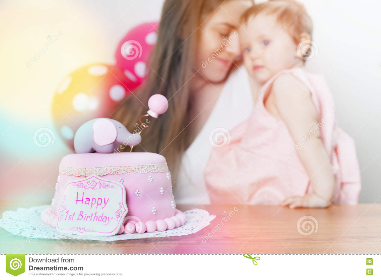 Awesome Mother With Cute Baby Celebrating First Birthday Cake Stock Personalised Birthday Cards Veneteletsinfo