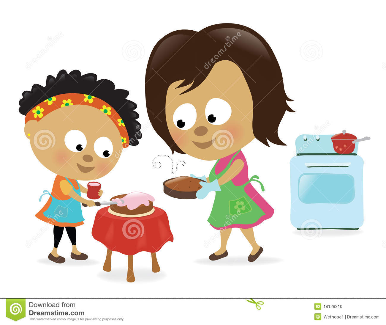 Mother And Daughter Baking A Cake Stock Photo Image